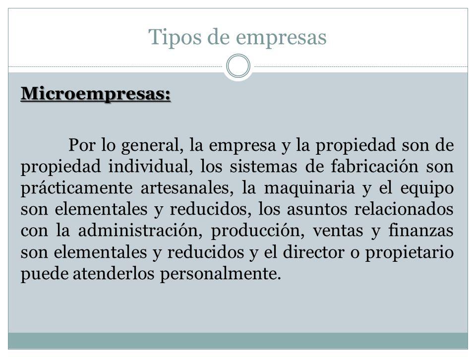 Tipos de empresas Microempresas: