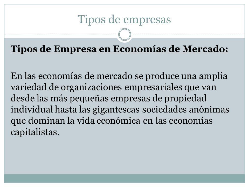 Tipos de empresas Tipos de Empresa en Economías de Mercado: