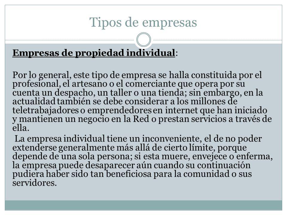 Tipos de empresas Empresas de propiedad individual: