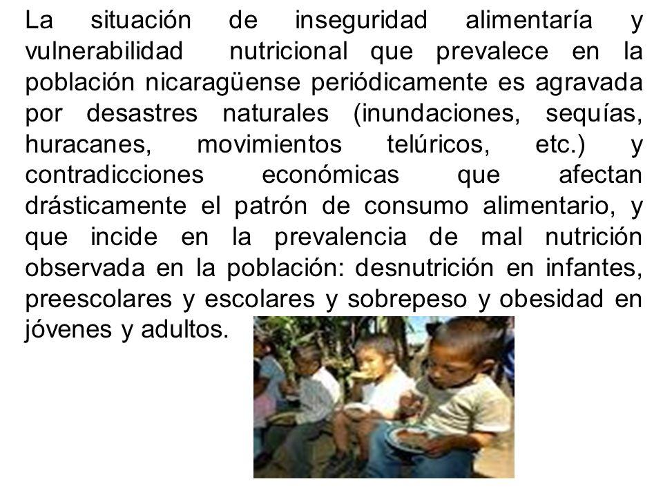 La situación de inseguridad alimentaría y vulnerabilidad nutricional que prevalece en la población nicaragüense periódicamente es agravada por desastres naturales (inundaciones, sequías, huracanes, movimientos telúricos, etc.) y contradicciones económicas que afectan drásticamente el patrón de consumo alimentario, y que incide en la prevalencia de mal nutrición observada en la población: desnutrición en infantes, preescolares y escolares y sobrepeso y obesidad en jóvenes y adultos.