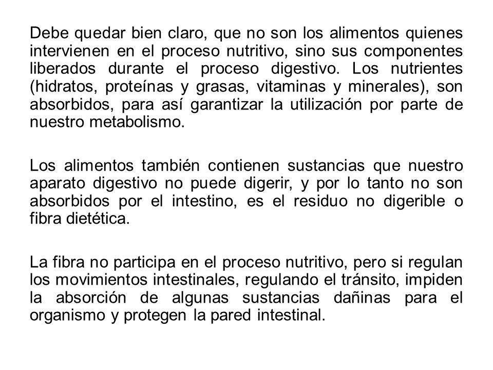 Debe quedar bien claro, que no son los alimentos quienes intervienen en el proceso nutritivo, sino sus componentes liberados durante el proceso digestivo.
