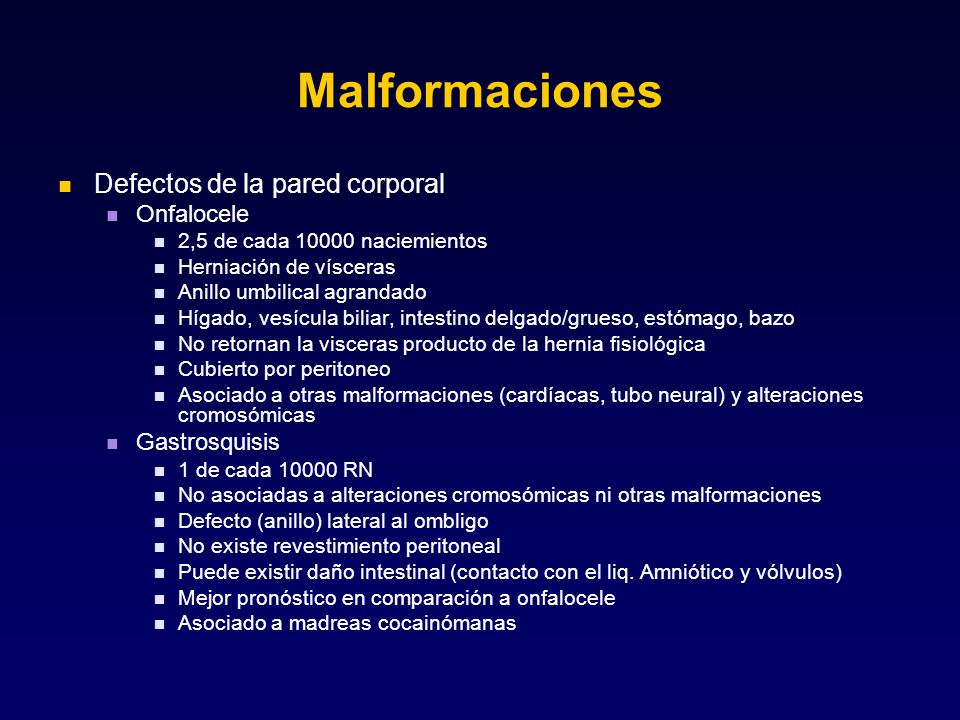 Malformaciones Defectos de la pared corporal Onfalocele Gastrosquisis