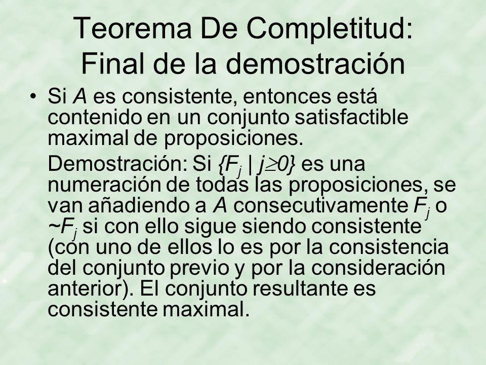 Teorema De Completitud: Final de la demostración