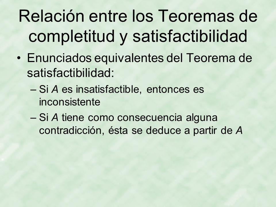 Relación entre los Teoremas de completitud y satisfactibilidad