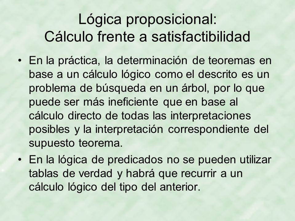 Lógica proposicional: Cálculo frente a satisfactibilidad