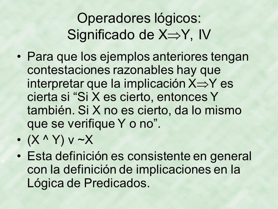 Operadores lógicos: Significado de XY, IV
