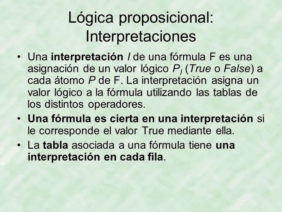 Lógica proposicional: Interpretaciones