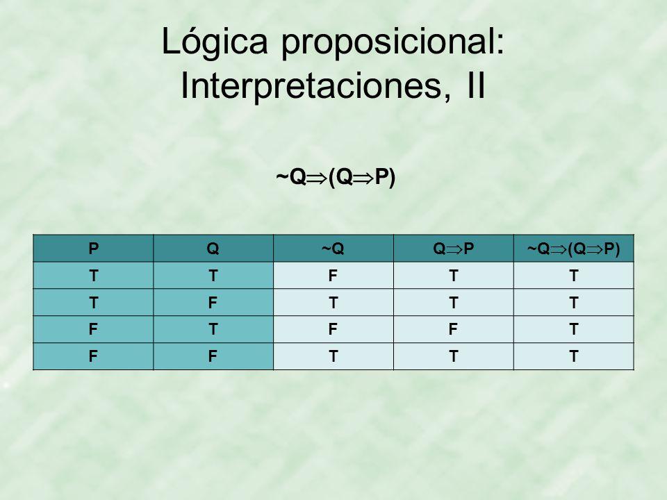 Lógica proposicional: Interpretaciones, II