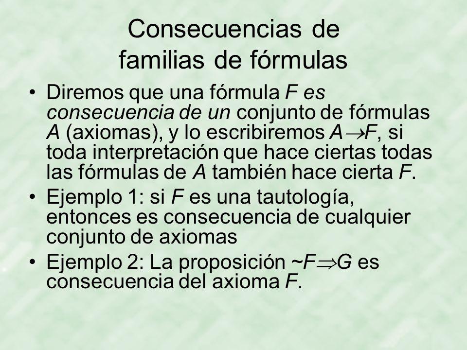 Consecuencias de familias de fórmulas