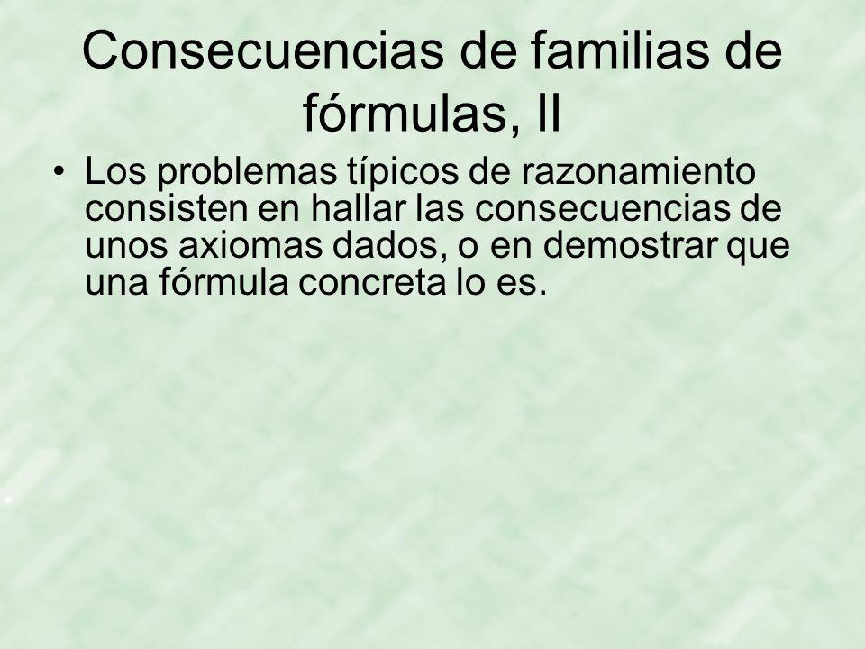Consecuencias de familias de fórmulas, II