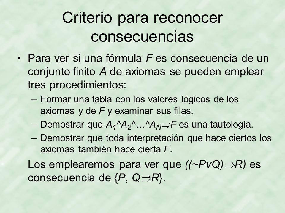 Criterio para reconocer consecuencias