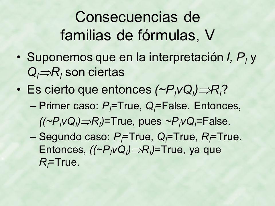 Consecuencias de familias de fórmulas, V