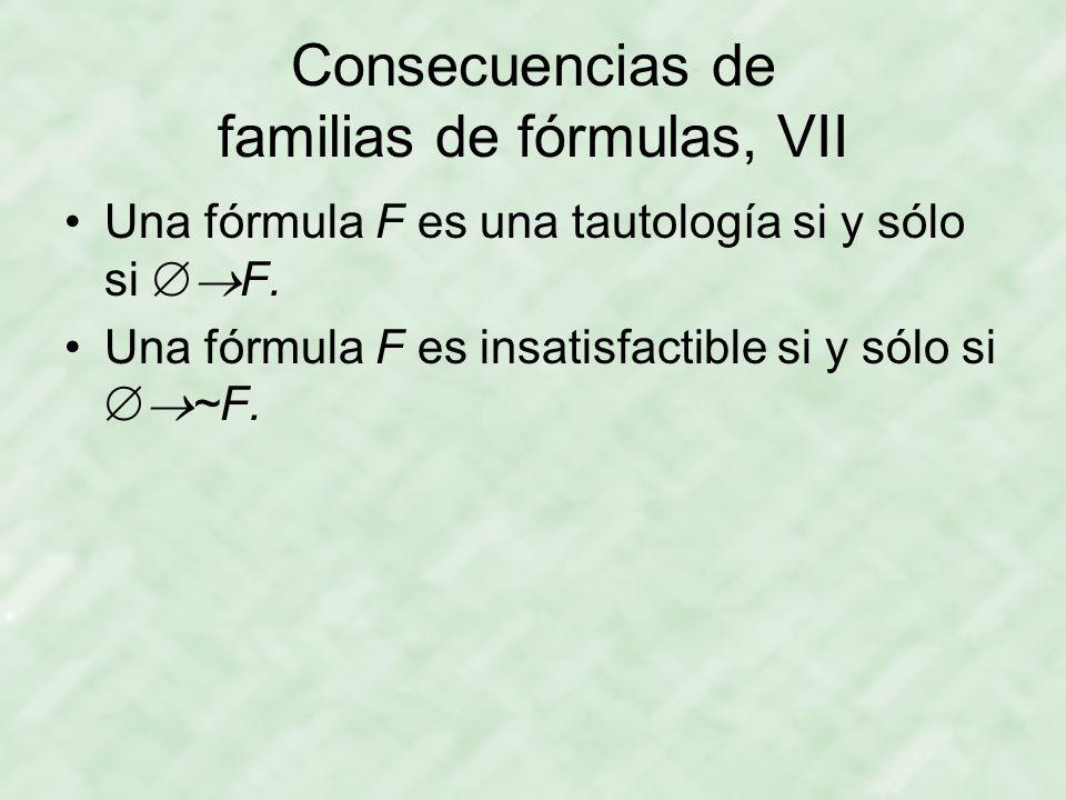Consecuencias de familias de fórmulas, VII
