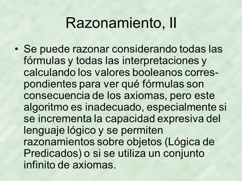 Razonamiento, II