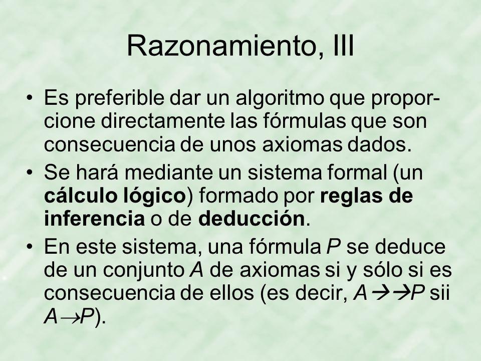 Razonamiento, III Es preferible dar un algoritmo que propor-cione directamente las fórmulas que son consecuencia de unos axiomas dados.