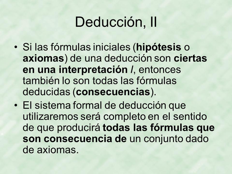 Deducción, II