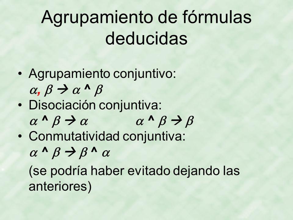 Agrupamiento de fórmulas deducidas