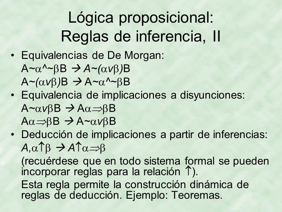 Lógica proposicional: Reglas de inferencia, II