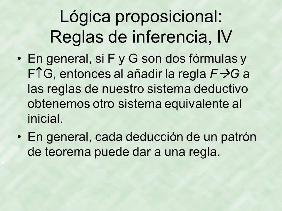 Lógica proposicional: Reglas de inferencia, IV