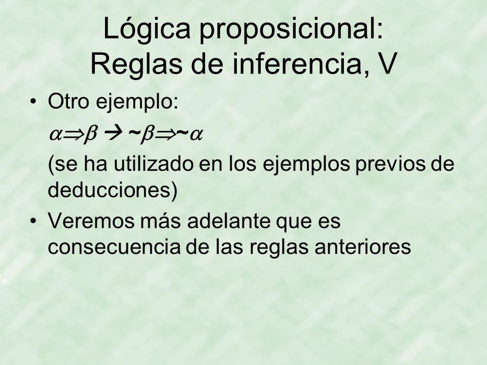 Lógica proposicional: Reglas de inferencia, V