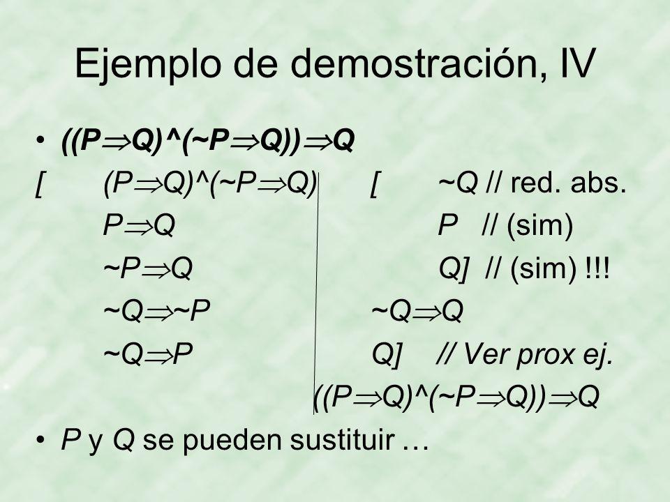 Ejemplo de demostración, IV