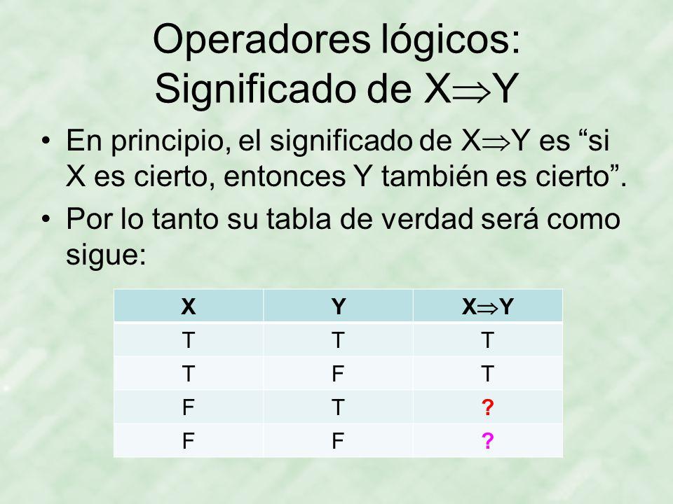 Operadores lógicos: Significado de XY