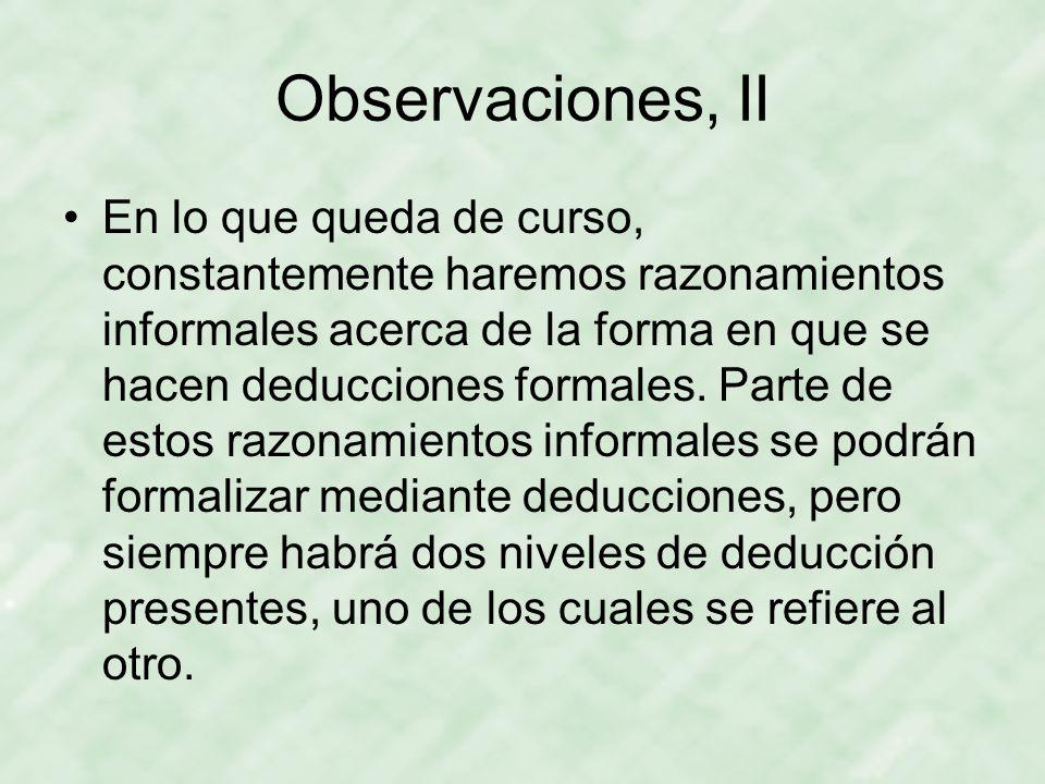Observaciones, II