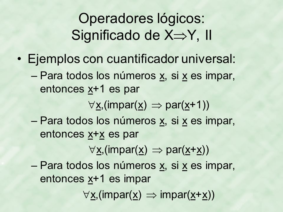 Operadores lógicos: Significado de XY, II