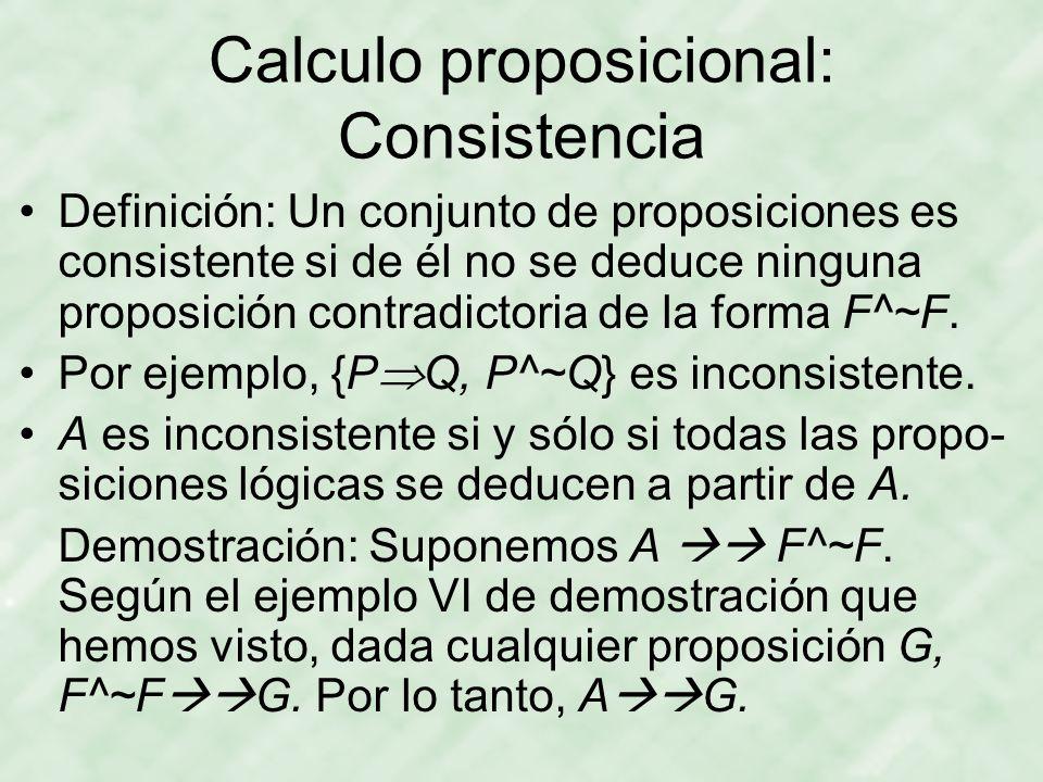 Calculo proposicional: Consistencia
