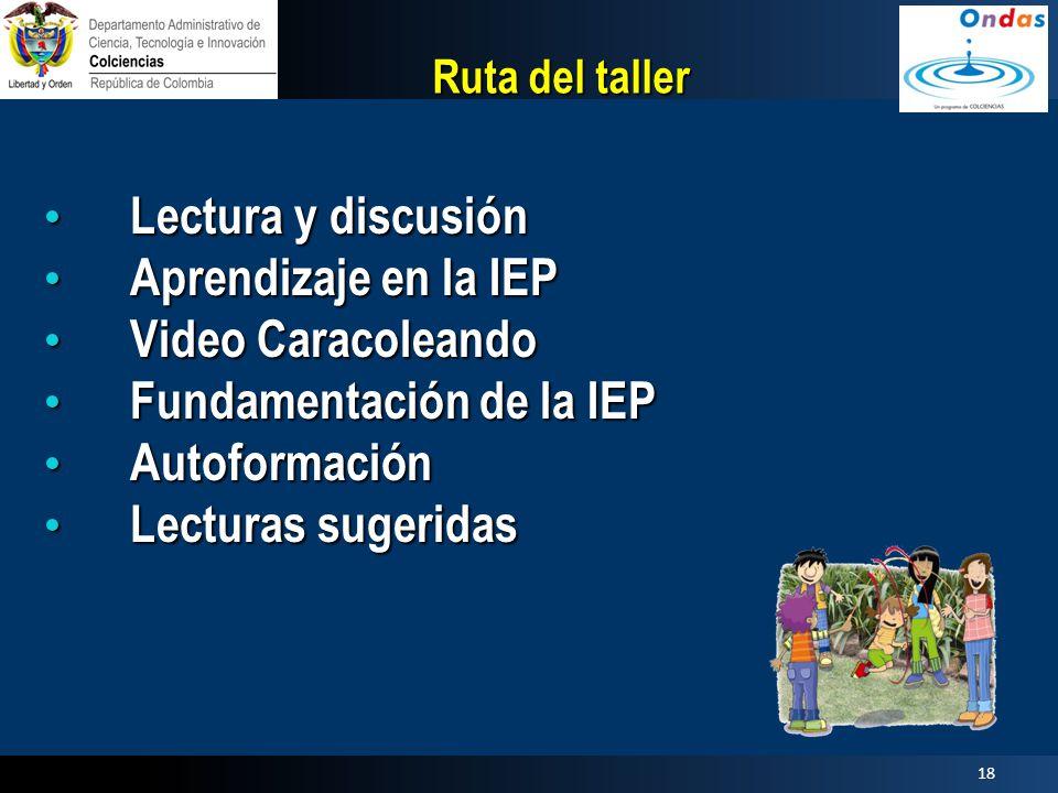 Fundamentación de la IEP Autoformación Lecturas sugeridas
