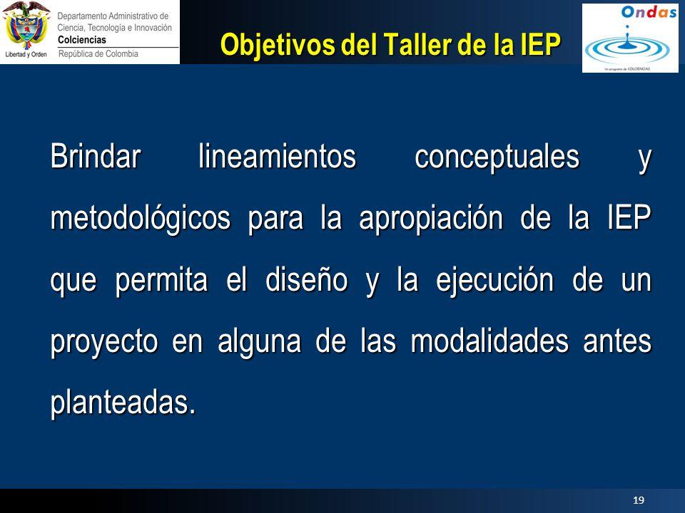 Objetivos del Taller de la IEP