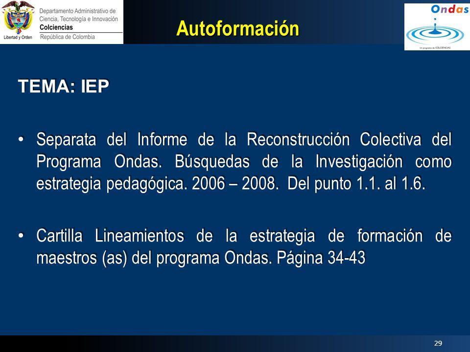 Autoformación TEMA: IEP