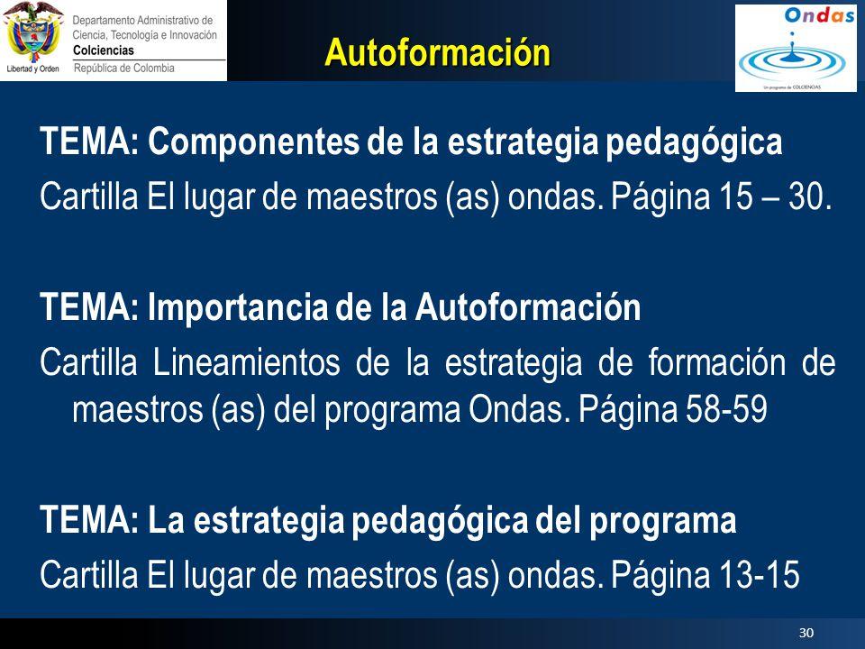 Autoformación TEMA: Componentes de la estrategia pedagógica. Cartilla El lugar de maestros (as) ondas. Página 15 – 30.