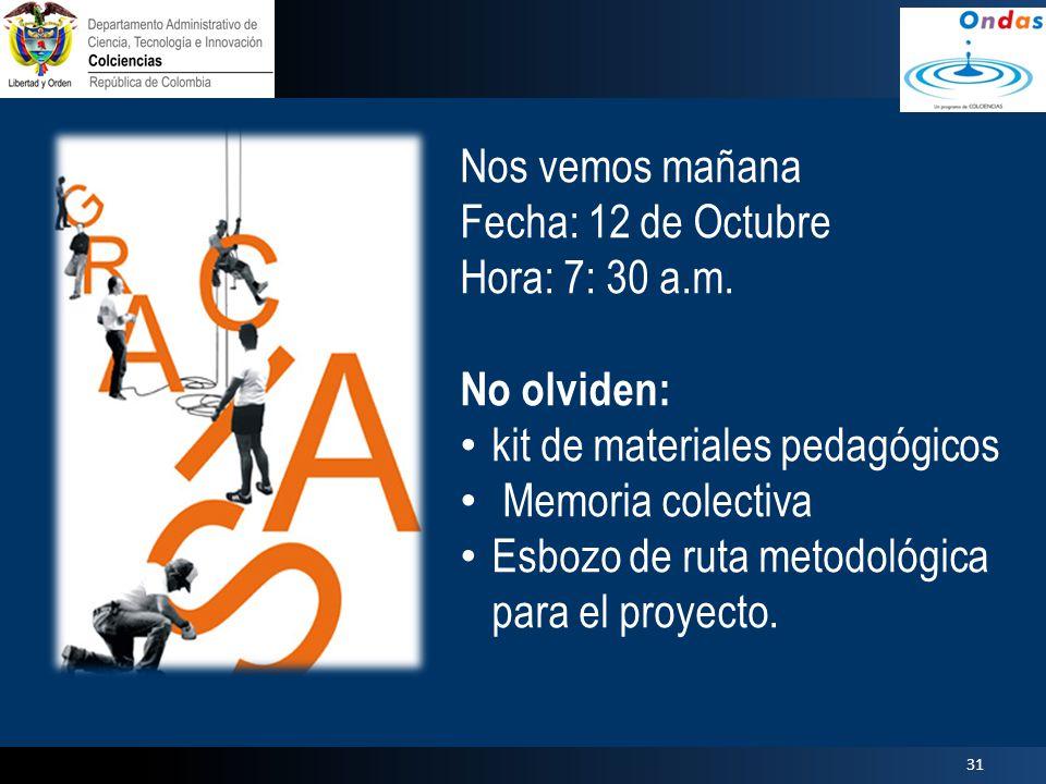 Nos vemos mañana Fecha: 12 de Octubre Hora: 7: 30 a.m. No olviden: kit de materiales pedagógicos.