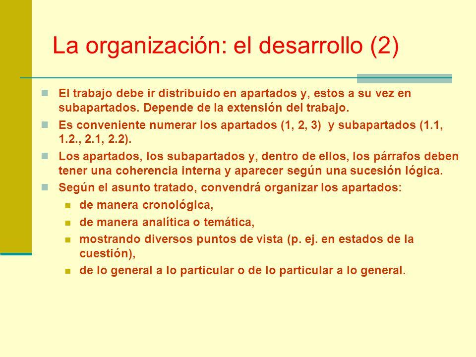 La organización: el desarrollo (2)