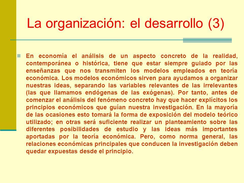La organización: el desarrollo (3)