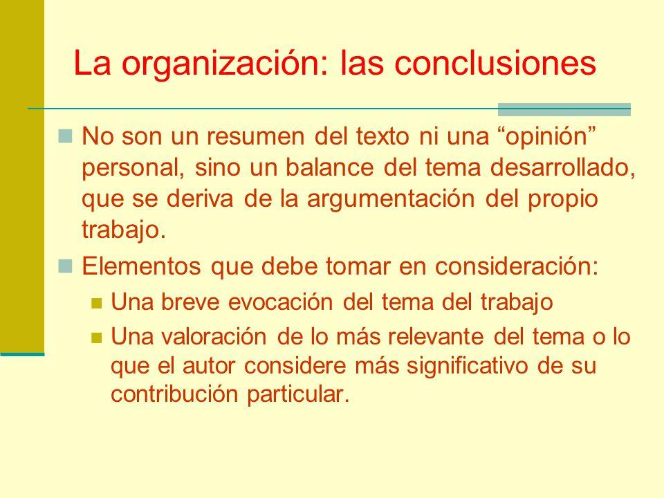 La organización: las conclusiones
