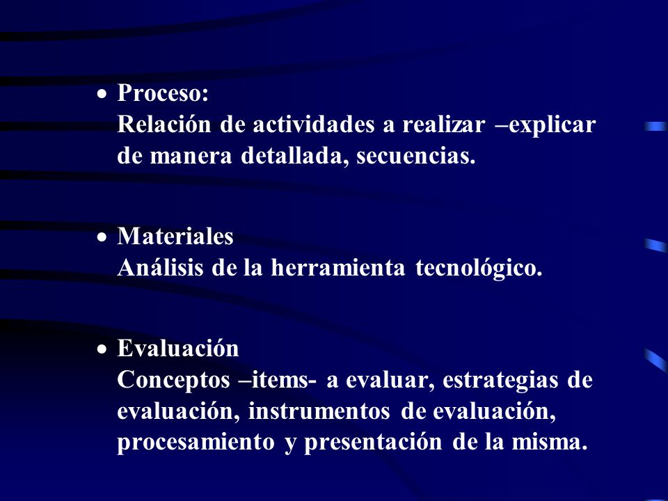 Proceso: Relación de actividades a realizar –explicar de manera detallada, secuencias.