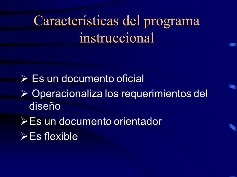 Características del programa instruccional
