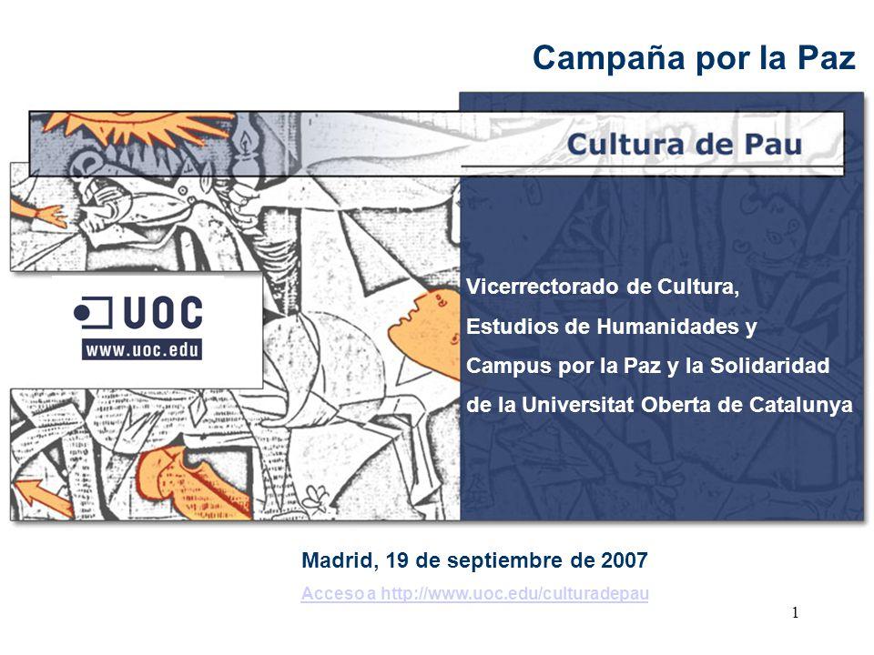 Campaña por la Paz Vicerrectorado de Cultura,