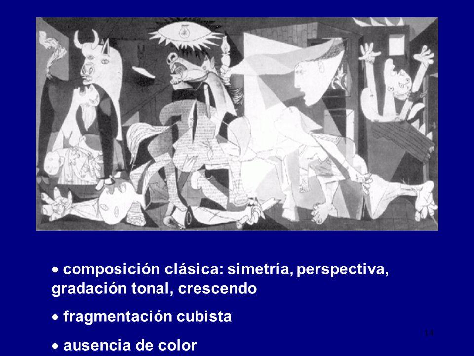 composición clásica: simetría, perspectiva, gradación tonal, crescendo