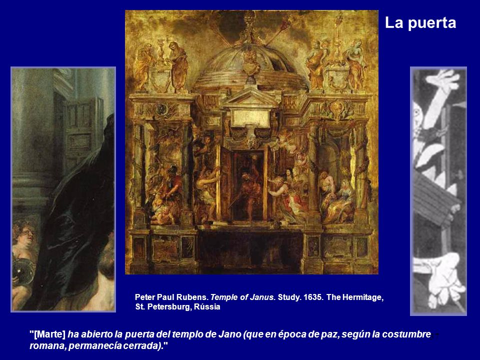 La puerta Peter Paul Rubens. Temple of Janus. Study. 1635. The Hermitage, St. Petersburg, Rússia.
