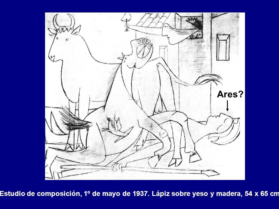 Ares Estudio de composición, 1º de mayo de 1937. Lápiz sobre yeso y madera, 54 x 65 cm.
