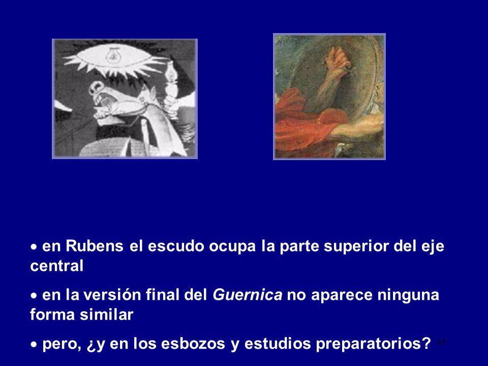 en Rubens el escudo ocupa la parte superior del eje central