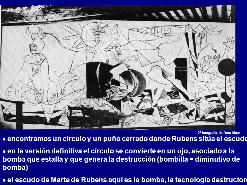 encontramos un círculo y un puño cerrado donde Rubens sitúa el escudo