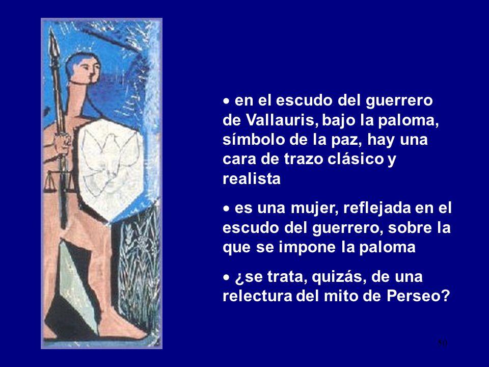 en el escudo del guerrero de Vallauris, bajo la paloma, símbolo de la paz, hay una cara de trazo clásico y realista