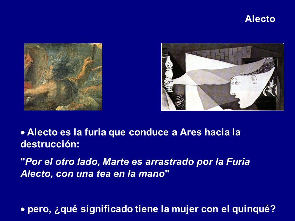 Alecto  Alecto es la furia que conduce a Ares hacia la destrucción: