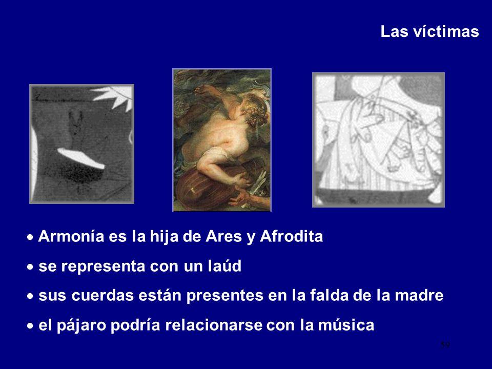 Las víctimas Armonía es la hija de Ares y Afrodita. se representa con un laúd. sus cuerdas están presentes en la falda de la madre.