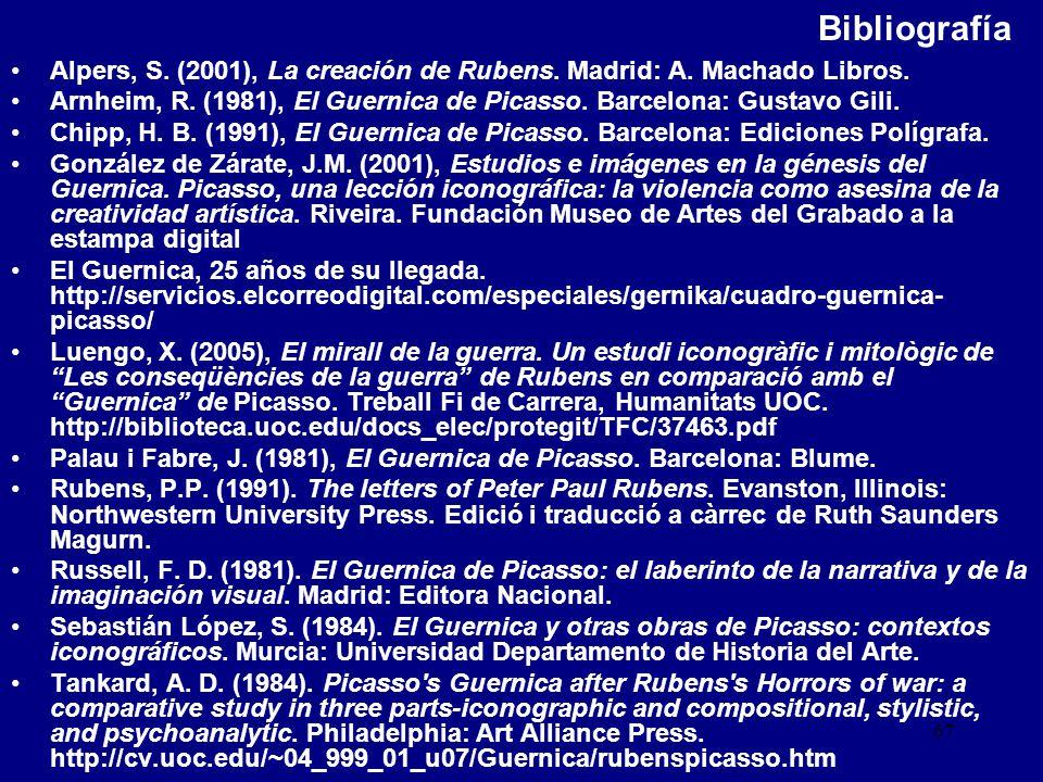 Bibliografía Alpers, S. (2001), La creación de Rubens. Madrid: A. Machado Libros.