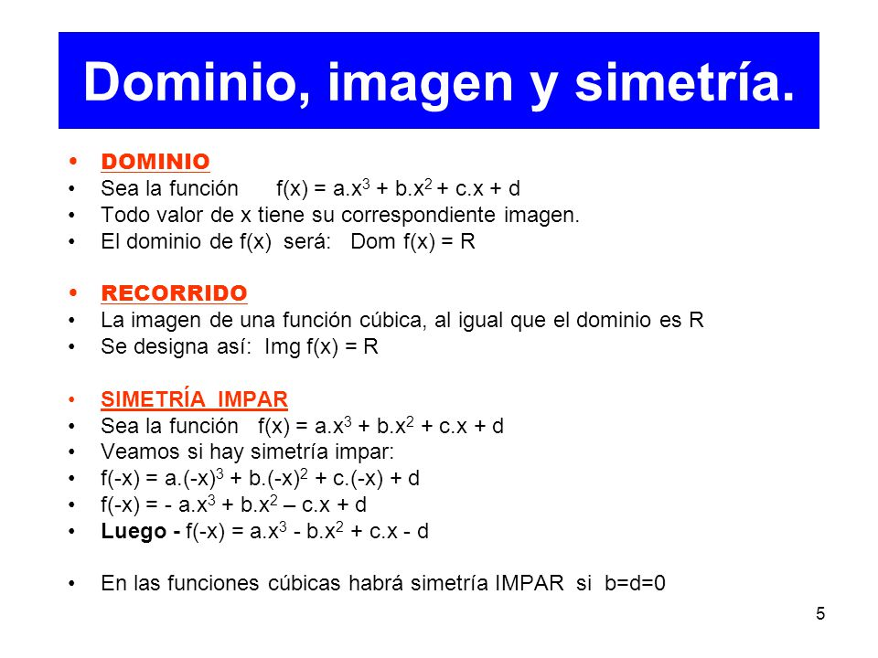 Dominio, imagen y simetría.